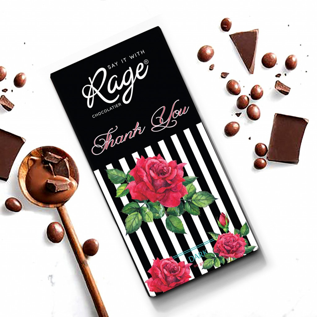Rage Thank You Black White Dark Chocolate - 90 Grams(#1029)-gallery-0
