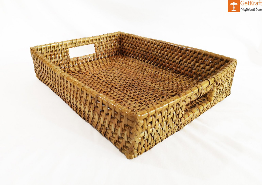 Rattan Rectangular Serving Kitchen Tray(#1043)-gallery-0