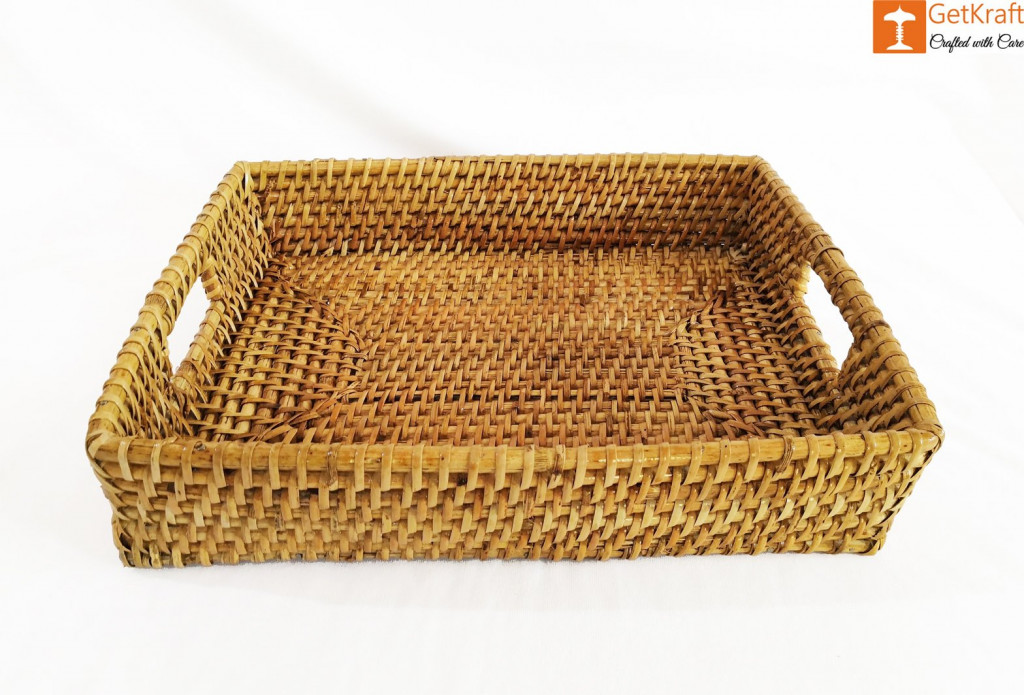 Rattan Rectangular Serving Kitchen Tray(#1043)-gallery-1