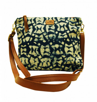 Clean Planet Womens Sling Bag (Blue) Indigo Block Printed(#1059)-gallery-0