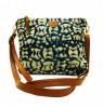 Clean Planet Womens Sling Bag (Blue) Indigo Block Printed(#1059) - getkraft.com