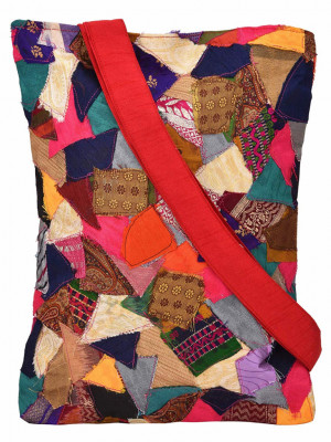 Tote bag Handcrafted Vibrant Patchwork Tote(#1068)-gallery-0