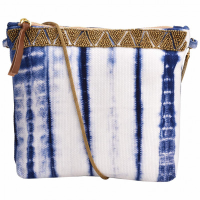 Shibori Clutch bag crossbody bag Hand Embroidery ( Blue )(#1069)-gallery-0