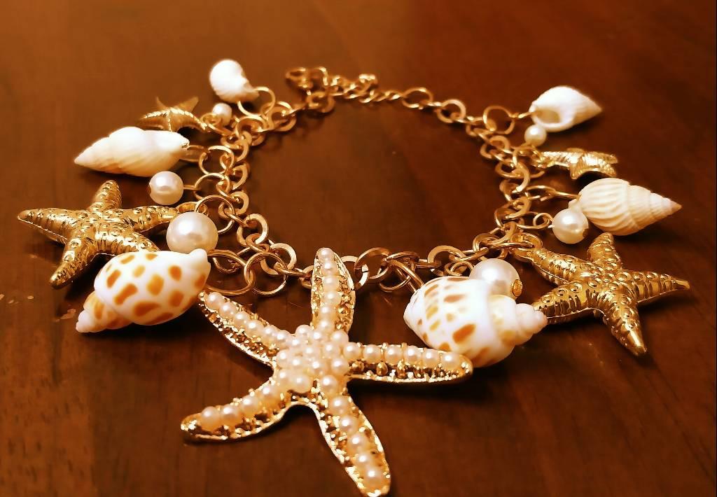 Starfish Shell Charm Bracelet(#1080)-gallery-0