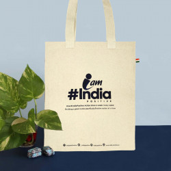 Tote Bag Womens Tote Bag IndiaPositive Challenge Tote ( Navy Cream )