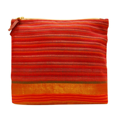 Pouch Handcrafted Reusable Washable Cotton Ethnic Traditional Multipurpose Pouch Clutch with Zip for Marriage Party Casual Function (Red)(#1089)-gallery-0