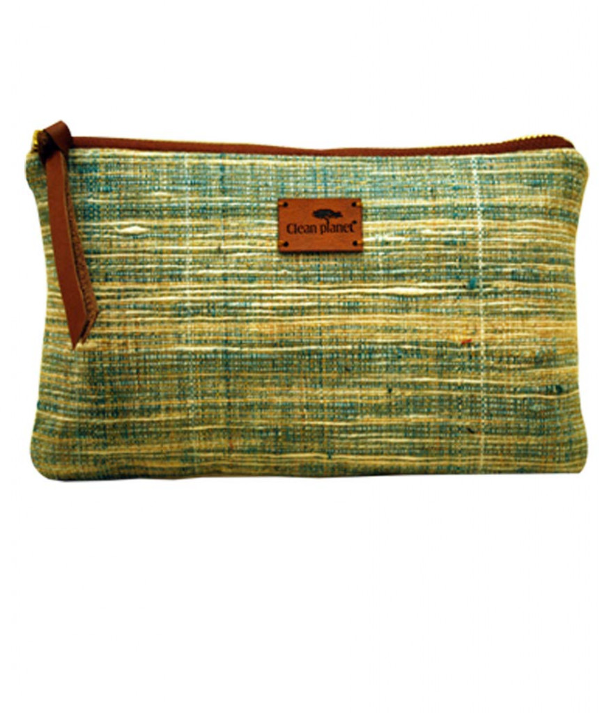 Pouch Handcrafted Khadi PouchClutch for Women CasualToiletryTravelCosmetic Eco-friendly Green(#1090)-gallery-0