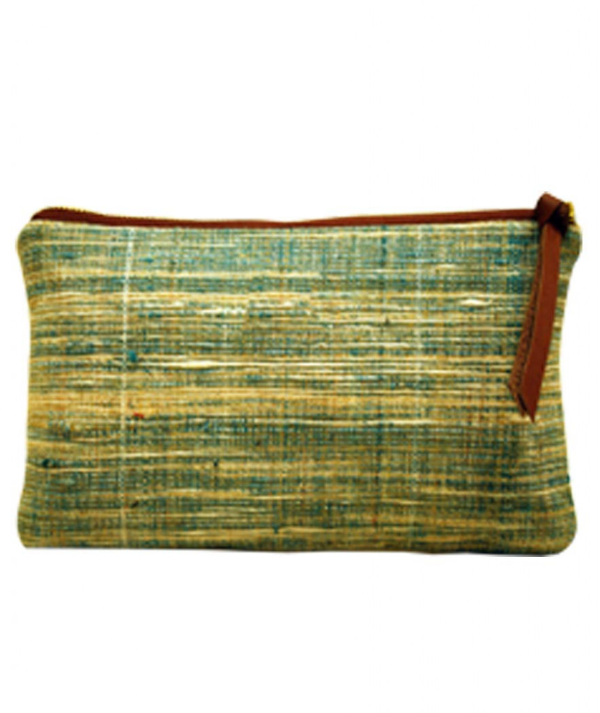 Pouch Handcrafted Khadi PouchClutch for Women CasualToiletryTravelCosmetic Eco-friendly Green(#1090)-gallery-3