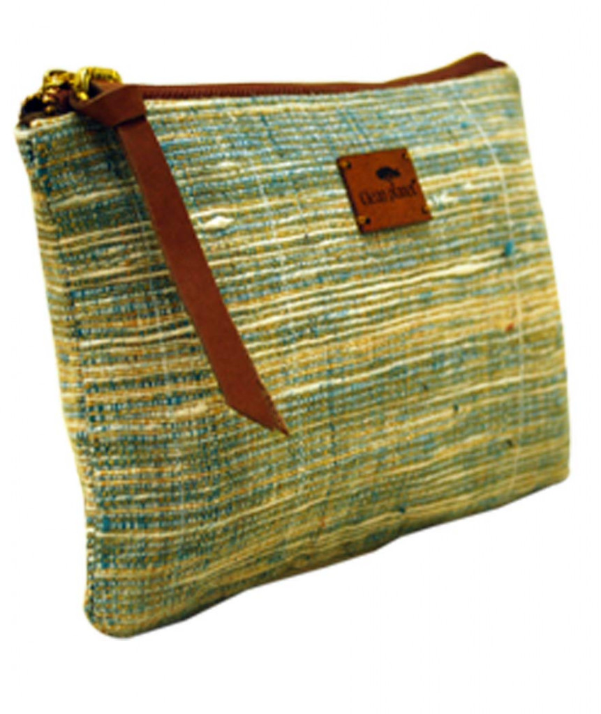 Pouch Handcrafted Khadi PouchClutch for Women CasualToiletryTravelCosmetic Eco-friendly Green(#1090)-gallery-4