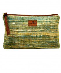 Pouch Handcrafted Khadi PouchClutch for Women CasualToiletryTravelCosmetic Eco-friendly Green