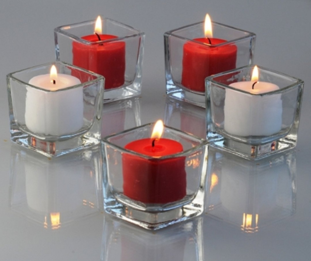 Twinkly Square Votive Aroma Candle Set of 4(#1092)-gallery-1