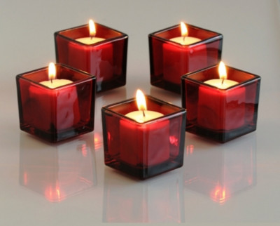 CherryPie Square Votive Aroma Candle Set of 4(#1093)-gallery-0