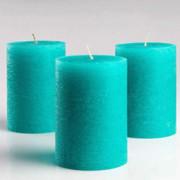 Pleasant Teal Pillar Candles Set of 3(#1097) - getkraft.com