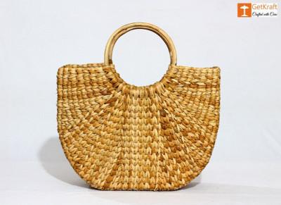 Natural Straw Kauna Hand (U) Bag(#1109)-gallery-0