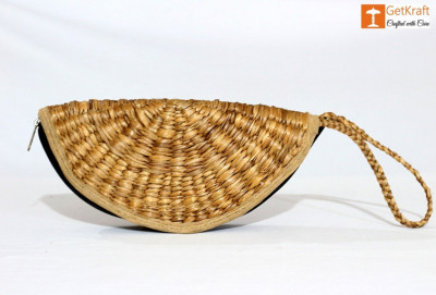 Natural Straw Handmade Clutch(#1110)-gallery-0