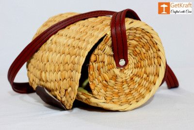 Natural Straw Cylindrical Barrel Bag With long Leather Belt(#1111)-gallery-0