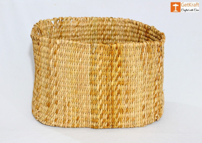 Natural Straw Kauna Large Basket(#1112)-gallery-0