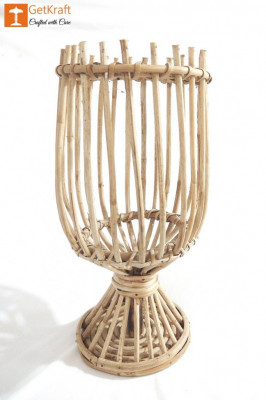 Cane Rattan Lantern Candle Holder (Large)(#1125)-gallery-0