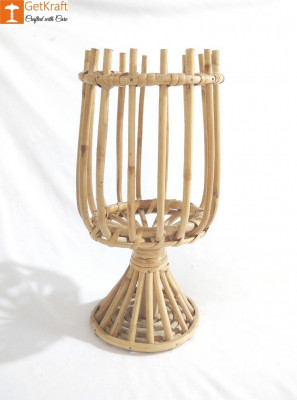 Cane Rattan Lantern Candle Holder (Small)(#1126)-gallery-0