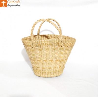 Natural Straw Kauna V Shaped Bag(#1127)-gallery-0