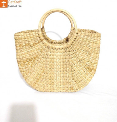 Natural Straw Kauna (U) Hand Bag(#1128)-gallery-0