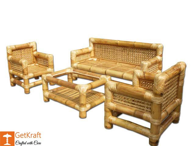 Authentic Bamboo Sofa Set with Table(#114)-gallery-1
