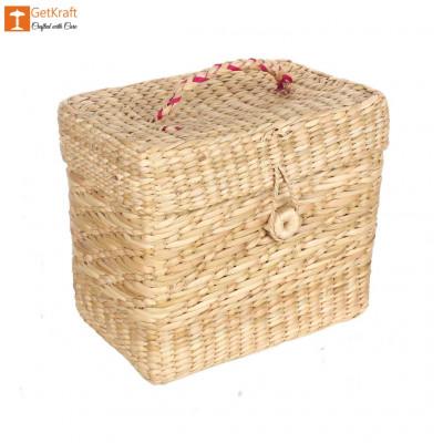 Natural Straw Jewellery Box(#1145)-gallery-0