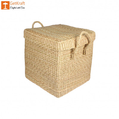 Natural Straw Kauna Grass Laundry Basket with Handle(#1146)-gallery-0