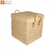 Natural Straw Kauna Grass Laundry Basket with Handle(#1146) - getkraft.com