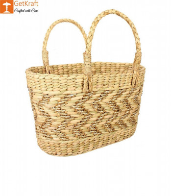 Natural Straw Kauna Grass Tote Bag(#1147)-gallery-0