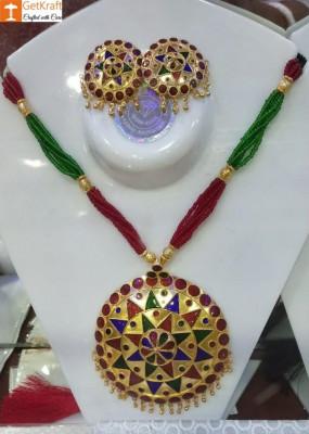 Jaapi Designer Traditional Assamese Necklace Earrings Set For Women(#1154)-gallery-0