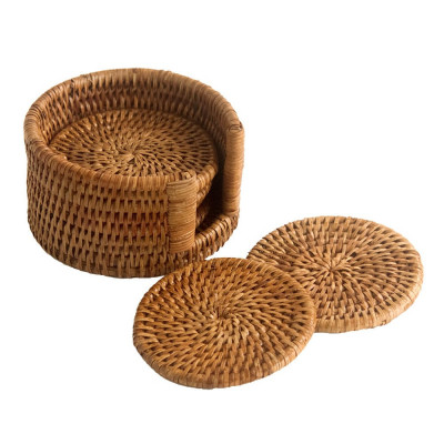 Handmade Drink Cane Rattan Coaster Set(6)(#1157)-gallery-0