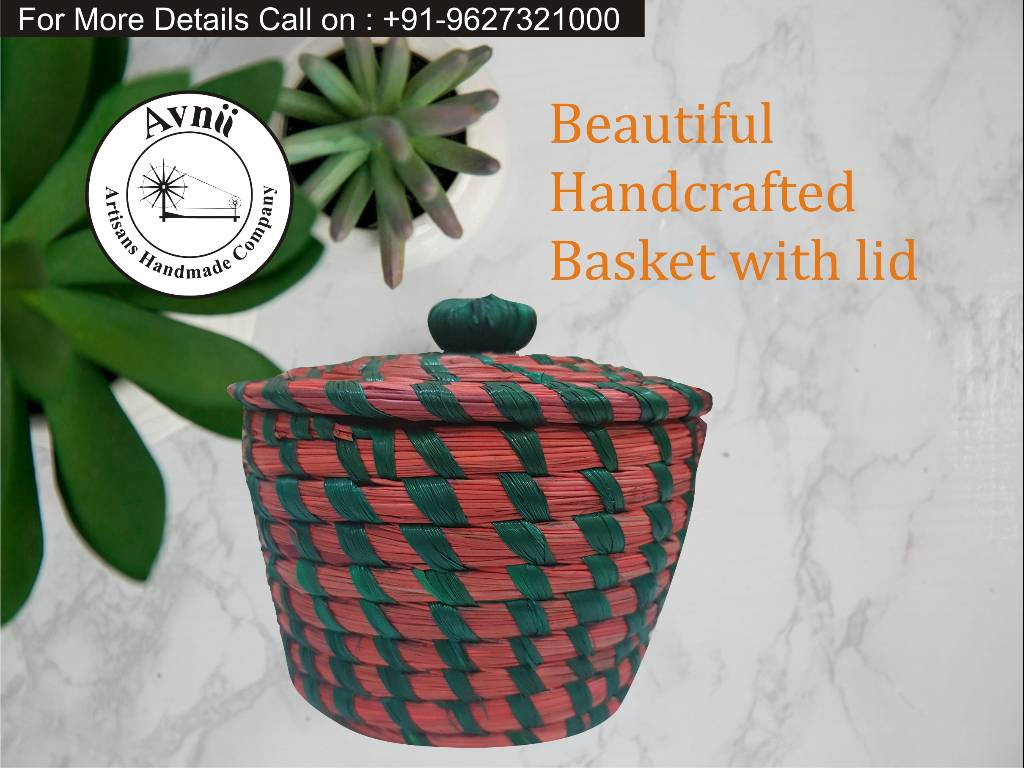 Weavers Beautiful Handmade Round Shaped Moonj Sea Grass Small Multi-Utility Storage Basket with Lid Used for Multi Storage(Green Combination)(#1166)-gallery-0