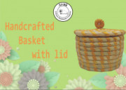 Weavers Beautiful Handmade Round Shaped Moonj Sea Grass Small Multi-Utility Storage Basket with Lid Used for Multi Storage(Yellow Combination)(#1167) - getkraft.com
