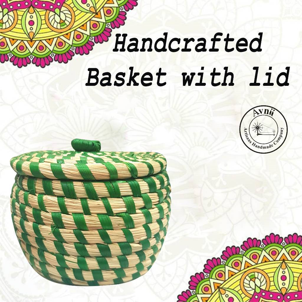 Weavers Beautiful Handmade Round Shaped Moonj Sea Grass Small Multi-Utility Storage Basket with Lid Used for Multi Storage(Green Combination)(#1168)-gallery-0