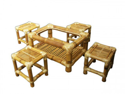 Tea Table Set - Set of 4 stools and table(#117)-gallery-0
