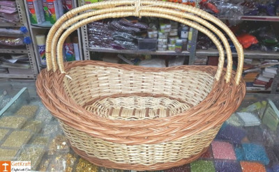 Wicker Willow Gift Basket (with) Handle Set Of 3(#1184)-gallery-0