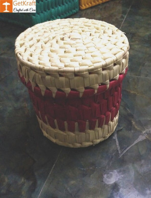 Palm Leaves Container box with Lid(#1207)-gallery-0