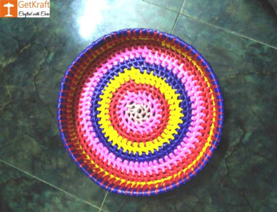 Palm Leaves Round Tray(#1211)-gallery-0