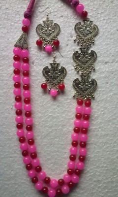 Pink Glass Beads Oxidized Jewellery Necklace set(#1221)-gallery-0