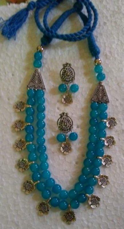 Sky Glass Beads Oxidized Jewellery Necklace set(#1222)-gallery-0