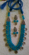 Sky Glass Beads Oxidized Jewellery Necklace set(#1222) - getkraft.com