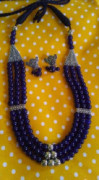 Blue Glass Beads Oxidized Artificial Jewellery Necklace set(#1223) - getkraft.com