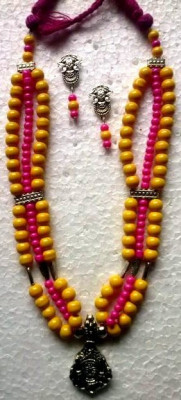 Pink Yellow Glass Beads Oxidized Jewellery Necklace set(#1225)-gallery-0