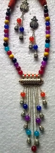 Multi color Glass Beads Oxidized Artifical Jewellery Necklace set(#1227)-gallery-0