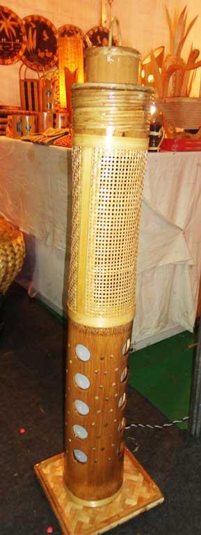 Corner Stand Bamboo Net Lamp(#126)-gallery-0