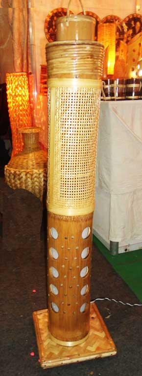 Corner Stand Bamboo Net Lamp(#126)-gallery-1