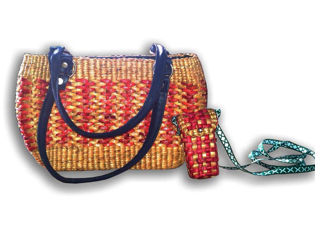 Uniquely Designed Natural Straw Handbag with Mini Mobile Case(#132)-gallery-0