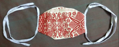 Handmade Assamese Gamosa Print Face Mask (Pack of 5)(#1339)-gallery-0