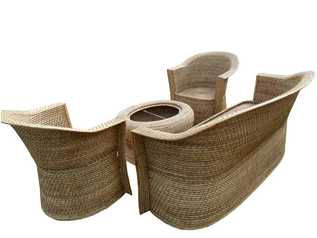 Eco-friendly Stylish Cane Sofa Set Designer Home Decor Set(#137)-gallery-2
